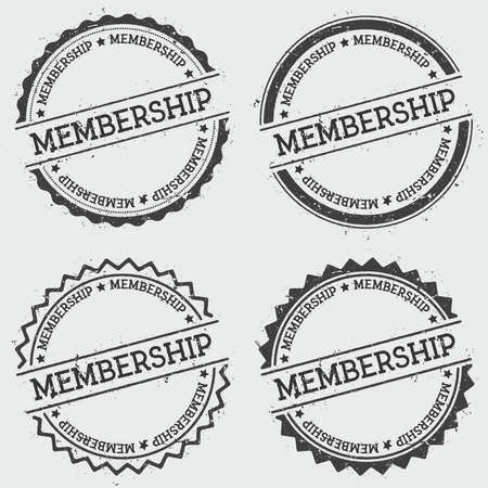 Membership insignia stamp isolated on white background. Grunge round hipster seal with text, ink texture and splatter and blots, vector illustration.