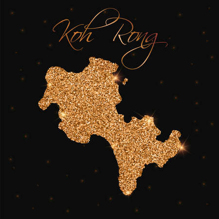 cambodian: Koh Rong map filled with golden glitter. Luxurious design element, vector illustration.