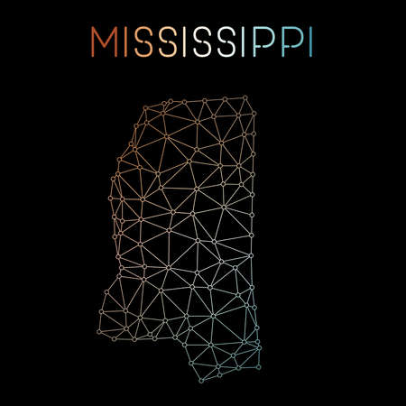 Mississippi network map. Abstract polygonal US state map design. Network connections vector illustration. Illustration