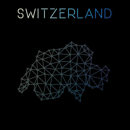 Switzerland network map. Abstract polygonal map design. Network connections vector illustration. Illustration