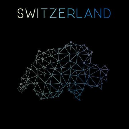 Switzerland network map. Abstract polygonal map design. Network connections vector illustration. Ilustração