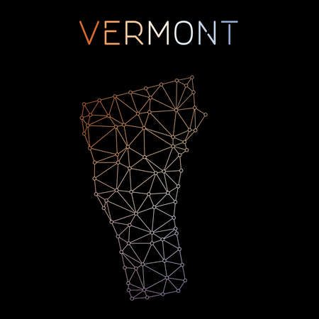 Vermont network map. Abstract polygonal US state map design. Network connections vector illustration.