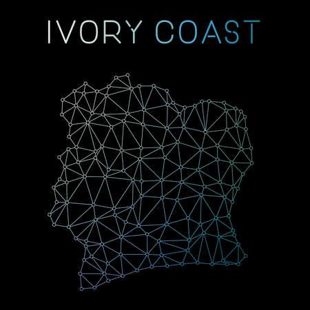 Cote DIvoire network map. Abstract polygonal map design. Network connections vector illustration. Ilustração