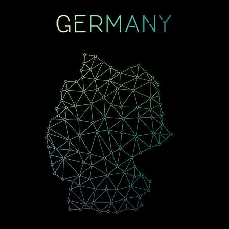 Germany network map. Abstract polygonal map design. Network connections vector illustration. Illustration
