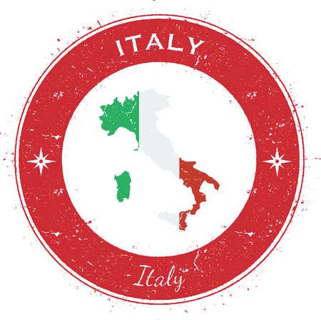 Italy circular patriotic badge. Grunge rubber stamp with national flag, map and the Italy written along circle border, vector illustration.