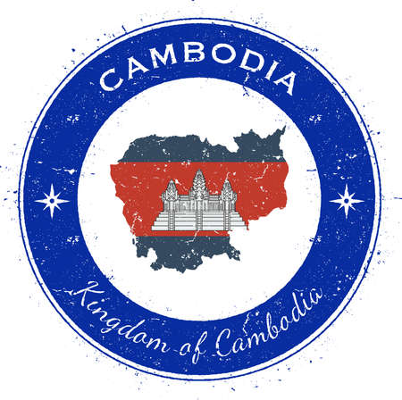 Cambodia circular patriotic badge. Grunge rubber stamp with national flag, map and the Cambodia written along circle border, vector illustration. Illustration