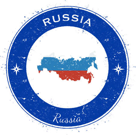 Russian Federation circular patriotic badge. Grunge rubber stamp with national flag, map and the Russian Federation written along circle border, vector illustration.