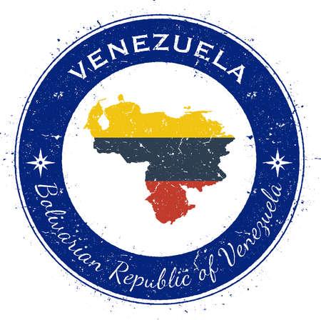 Venezuela, Bolivarian Republic of circular patriotic badge. Grunge rubber stamp with national flag, map and the Venezuela, Bolivarian Republic of written along circle border, vector illustration.