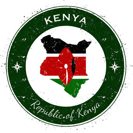 Kenya circular patriotic badge. Grunge rubber stamp with national flag, map and the Kenya written along circle border, vector illustration.