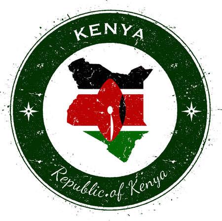 Kenya circular patriotic badge. Grunge rubber stamp with national flag, map and the Kenya written along circle border, vector illustration.