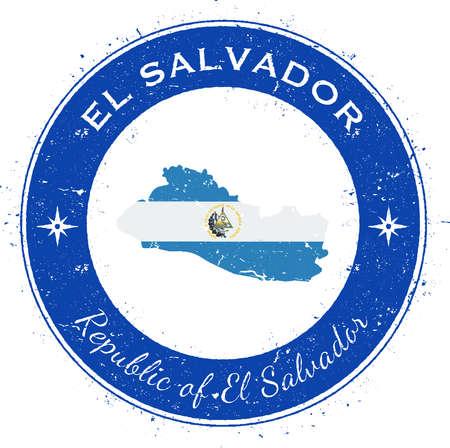 El Salvador circular patriotic badge. Grunge rubber stamp with national flag, map and the El Salvador written along circle border, vector illustration.
