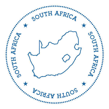 nationalist: South Africa vector map sticker. Hipster and retro style badge with South Africa map. Minimalistic insignia with round dots border. Country map vector illustration. Illustration