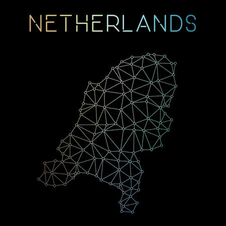 Netherlands network map. Abstract polygonal map design. Network connections vector illustration. Illustration