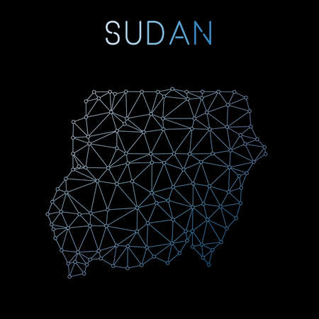 Sudan network map. Abstract polygonal map design. Network connections vector illustration. 向量圖像
