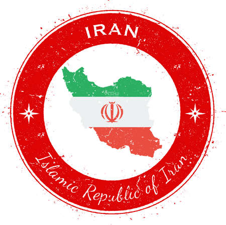 Iran, Islamic Republic Of circular patriotic badge. Grunge rubber stamp with national flag, map and the Iran, Islamic Republic Of written along circle border, vector illustration.