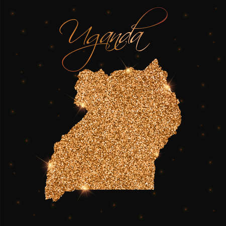 Uganda map filled with golden glitter. Luxurious design element, vector illustration.