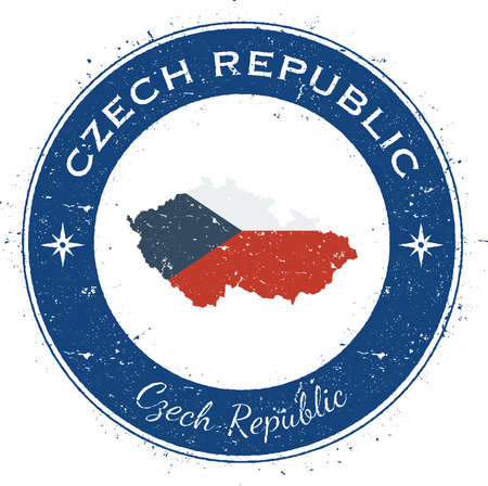 Czech Republic circular patriotic badge. Grunge rubber stamp with national flag, map and the Czech Republic written along circle border, vector illustration.