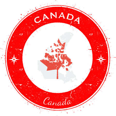 canada stamp: Canada circular patriotic badge. Grunge rubber stamp with national flag, map and the Canada written along circle border, vector illustration.