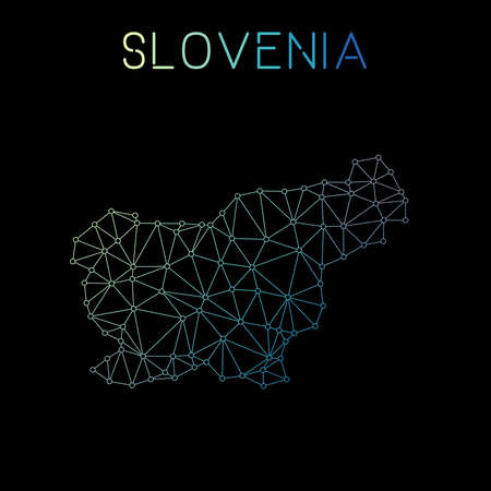 Slovenia network map. Abstract polygonal map design. Network connections vector illustration. Illustration