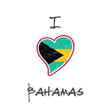 Bahamian flag patriotic t-shirt design. Heart shaped national flag Bahamas on white background. Vector illustration. Illustration
