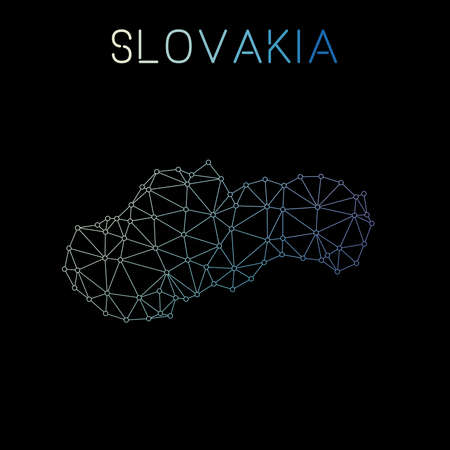Slovakia network map. Abstract polygonal map design. Network connections vector illustration.