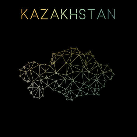 Kazakhstan network map. Abstract polygonal map design. Network connections vector illustration.