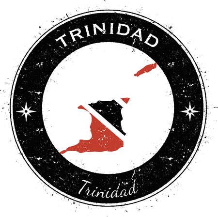 streamers: Trinidad and Tobago circular patriotic badge. Grunge rubber stamp with national flag, map and the Trinidad and Tobago written along circle border, vector illustration.