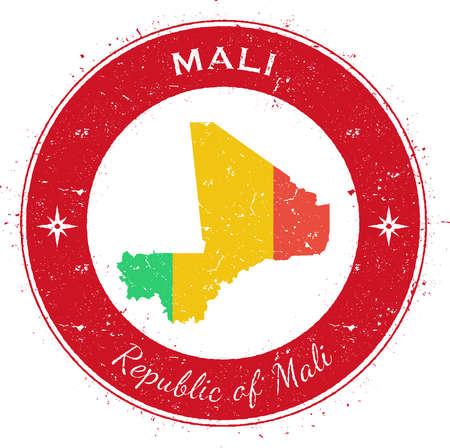 Mali circular patriotic badge. Grunge rubber stamp with national flag, map and the Mali written along circle border, vector illustration.