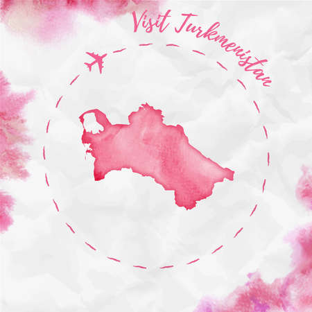Turkmenistan watercolor map in red colors. Visit Turkmenistan poster with airplane trace and handpainted watercolor Turkmenistan map on crumpled paper. Vector illustration. Illustration