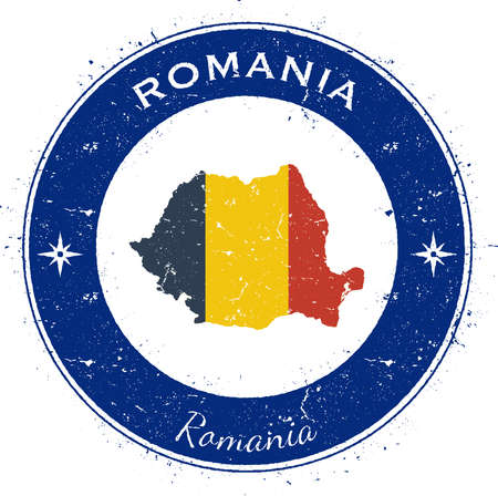 rom: Romania circular patriotic badge. Grunge rubber stamp with national flag, map and the Romania written along circle border, vector illustration.