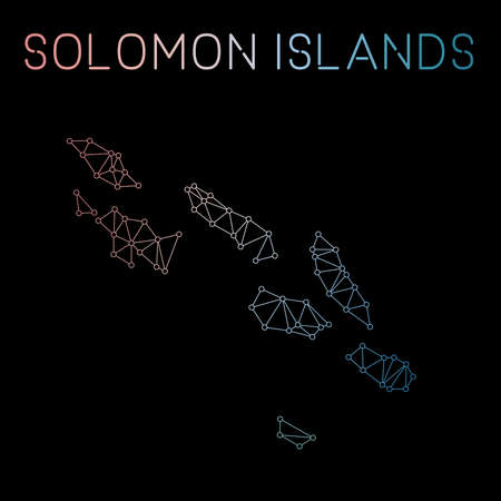 Solomon Islands network map. Abstract polygonal map design. Network connections vector illustration.