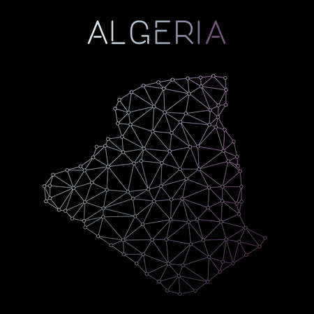 Algeria network map. Abstract polygonal map design. Network connections vector illustration. 向量圖像