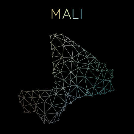 Mali network map. Abstract polygonal map design. Network connections vector illustration. Illustration