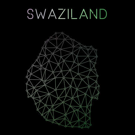 Swaziland network map. Abstract polygonal map design. Network connections vector illustration. Illustration