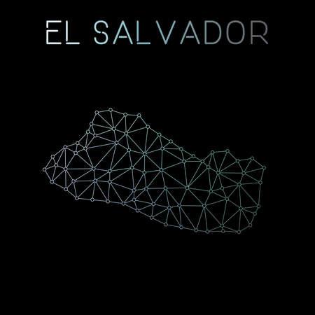 El Salvador network map. Abstract polygonal map design. Network connections vector illustration. Ilustração