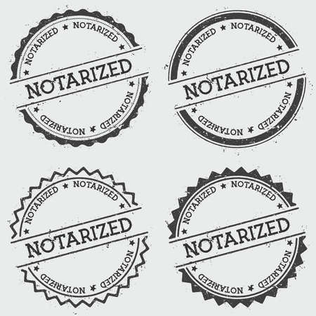 notarized: Notarized insignia stamp isolated on white background. Grunge round hipster seal with text, ink texture and splatter and blots, vector illustration.
