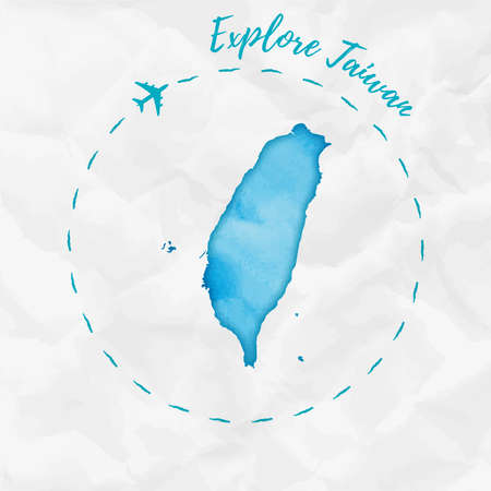 Taiwan watercolor map in turquoise colors. Explore Taiwan poster with airplane trace and handpainted watercolor Taiwan map on crumpled paper. Vector illustration.  イラスト・ベクター素材