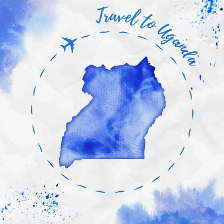 Uganda watercolor map in blue colors. Travel to Uganda poster with airplane trace and handpainted watercolor Uganda map on crumpled paper. Vector illustration.
