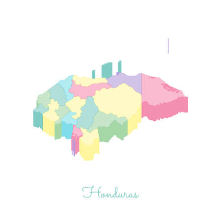 on top of the world: Honduras region map: colorful isometric top view. Detailed map of Honduras regions. Vector illustration. Illustration