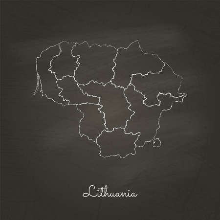 Lithuania region map: hand drawn with white chalk on school blackboard texture. Detailed map of Lithuania regions. Vector illustration.