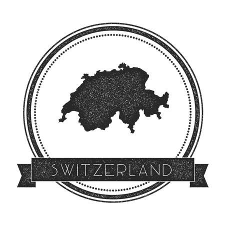 Retro distressed Switzerland badge with map. Hipster round rubber stamp with country name banner, vector illustration. Illustration
