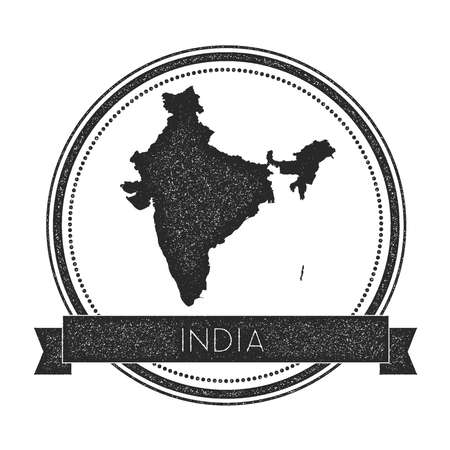 Retro distressed India badge with map. Hipster round rubber stamp with country name banner, vector illustration.