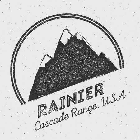 Rainier in Cascade Range, USA outdoor adventure logo. Round mountain vector insignia. Climbing, trekking, hiking, mountaineering and other extreme activities logo template.