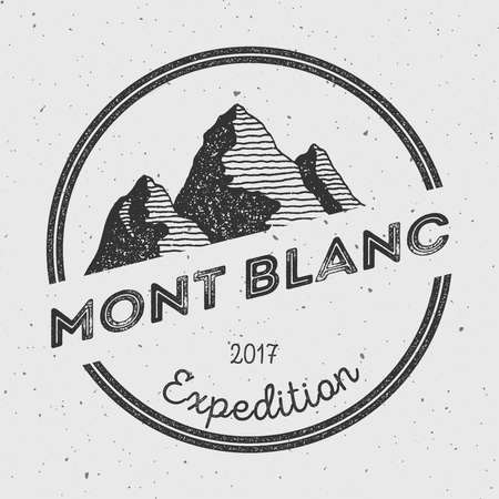Mont Blanc in Alps, Italy outdoor adventure logo. Round expedition vector insignia. Climbing, trekking, hiking, mountaineering and other extreme activities logo template.