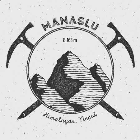 alpinism: Manaslu in Himalayas, Nepal outdoor adventure logo. Climbing mountain vector insignia. Climbing, trekking, hiking, mountaineering and other extreme activities logo template.