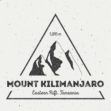 scrambling: Kilimanjaro in Eastern Rift, Tanzania outdoor adventure logo. Triangular mountain insignia. Climbing, trekking, hiking, mountaineering and other extreme activities logo template.