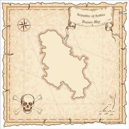 Serbia old pirate map. Sepia engraved template of treasure map. Stylized pirate map on vintage paper.