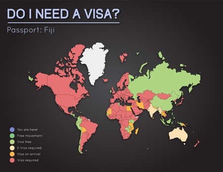 Visas information for republic of fiji passport holders year vector visas information for republic of fiji passport holders year 2017 world map infographics showing visa requirements for all countries gumiabroncs Image collections