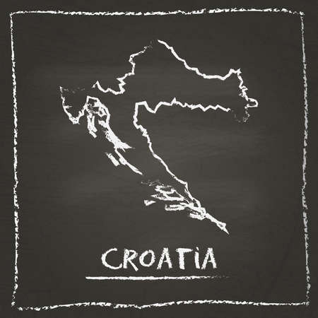 Croatia outline vector map hand drawn with chalk on a blackboard. Chalkboard scribble in childish style. White chalk texture on black background.