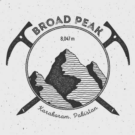 Broad Peak in Karakoram, Pakistan outdoor adventure logo. Climbing mountain vector insignia. Climbing, trekking, hiking, mountaineering and other extreme activities logo template.